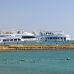 White yachts near the beach in Red sea