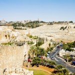 View from the walls of Jerusalem on the Zion Christian gate and the Mount of Olives