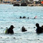 Divers are ready to scuba dive in the red sea near Eilat Israel.