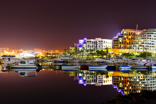 Hotels and yachts at night. Eilat. Israel.