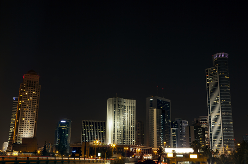 Nocturnal view at the downtown district of Ramat-Gan (Israel); where the famous Israel diamond trade center is located.