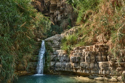 Rocks, streams and waterfalls - Ein Gedi nature reserve off the coast of the Dead Sea.
