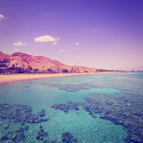 View to the Coastline of Red Sea from Coral Reef in Israel, Instagram Effect