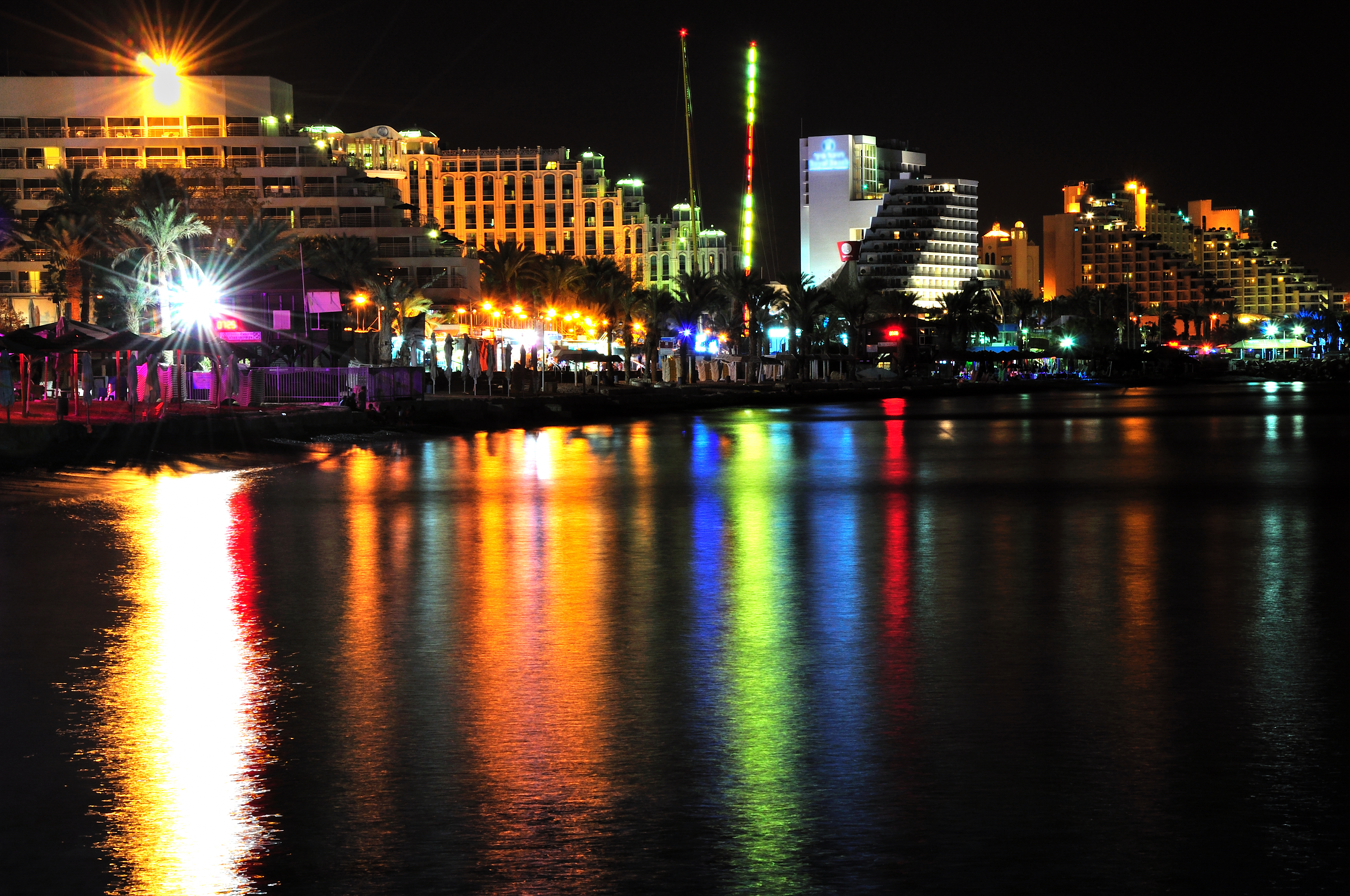 Part of Eilat coast by night. South Israel.
