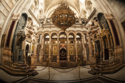 The interior in the temple of the Holy Sepulcher.