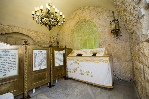 JERUSALEM, ISRAEL - 08 OCTOBER, 2014: The tomb of King David is located in a corner of a room on the ground floor remains of the former Hagia Zion an ancient house of worship on Mount Zion in Jerusalem